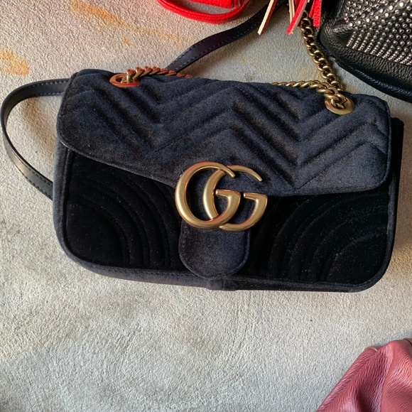 37a1dbec8 Gucci Bags | Gg Marmont Mini Velvet Shoulder Bag Black | Poshmark